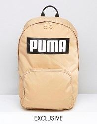 Puma Logo Backpack In Sand Exclusive To Asos Tan