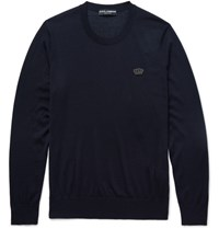 Dolce And Gabbana Appliqued Cashmere Sweater Midnight Blue