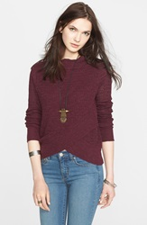 Free People Boho Crossover Sweater Plum