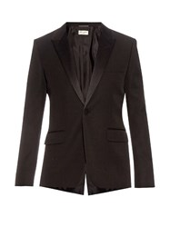 Saint Laurent Satin Lapel Wool Tuxedo Jacket Black