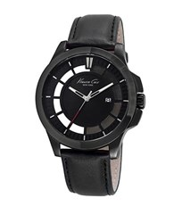 Kenneth Cole Monochrome Ion Plated And Leather Strap Watch 10029297 Black