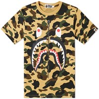 A Bathing Ape 1St Camo Shark Tee Yellow