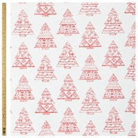 John Lewis Linen Look Christmas Tree Fabric Natural Red