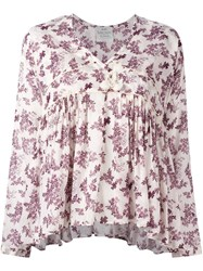 Forte Forte Floral Print V Neck Blouse Pink And Purple