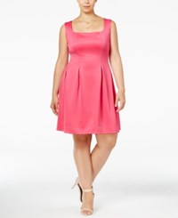 Love Squared Trendy Plus Size Scuba Fit And Flare Dress Fuchsia