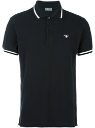 Christian Dior Homme Striped Collar Polo Shirt Black