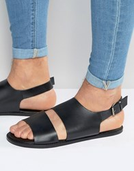 Asos Sandals In Black Leather With Cut Out Black