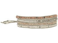 Chan Luu 32' Rose Gold Mix With Swarvoski Crystals Semi Previous Stones And Ribbon Bracelet Rose Gold Mix Bracelet