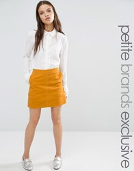 Fashion Union Petite Tress Courdroy Aline Mini Skirt Mustard Yellow