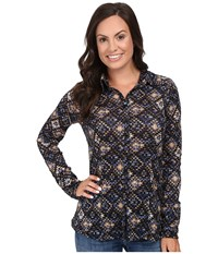 Stetson Aztec Tapestry Print Long Sleeve Woven Western Shirt Blue Women's Clothing