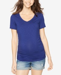 A Pea In The Pod Maternity Ruched V Neck Tee Marine Blue