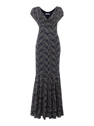 Shubette Lace Cowl Neck Gown Navy Metallic