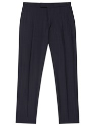 Reiss Baggio Wool Check Modern Fit Suit Trousers Blue