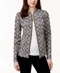 Charter Club Printed Front Zip Blazer Only At Macy's Birch Tree Combo
