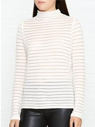 Karl Lagerfeld Striped Sheer Solid Sweater White