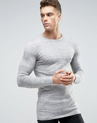 Asos Longline Crew Neck Sweater In Muscle Fit Gray