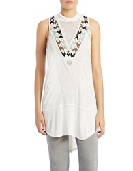 Free People Embroidered Racerback Tunic Ivory