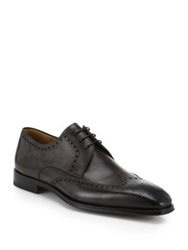 Saks Fifth Avenue By Magnanni Lace Up Leather Loafers Dark Grey