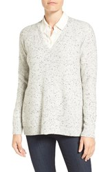 Nordstrom Women's Collection V Neck Cashmere Pullover Grey Vapor Tweed