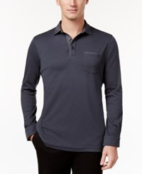 Tasso Elba Men's Chambray Pocket Polo Only At Macy's Dark Lead