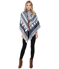 Echo Border Square W Tassels Navy Women's Clothing