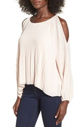 Astr Women's Pleated Cold Shoulder Top