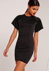 Missguided Kimono Sleeve Bodycon Scuba Dress Black Black