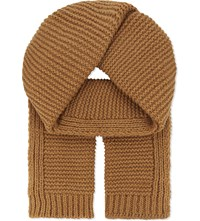 Junya Watanabe Knitted Wool And Cashmere Scarf Camel