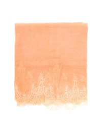 Janavi Cashmere And Lace Scarf Peach Cream Grey