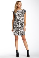 Vince Camuto Animal Dashes Pleather Trim Dress Multi