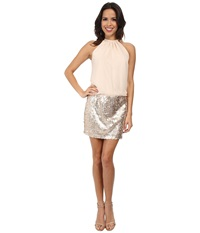 Jessica Simpson Blousen Dress W Sequin Skirt Champagne Women's Skirt Gold