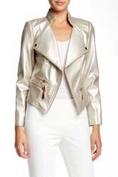 Insight Embossed Faux Leather Jacket Metallic