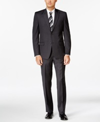 Andrew Marc New York Andrew Marc Black And Charcoal Pindot Slim Fit Suit
