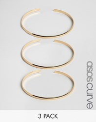 Asos Curve Pack Of 3 Sleek Stacking Arm Cuffs Gold