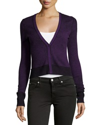 Christopher Fischer Cashmere Cropped V Neck Cardigan Elderberry
