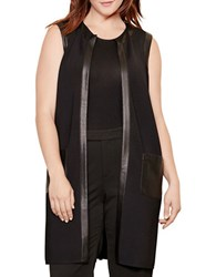 Lauren Ralph Lauren Plus Faux Leather Trim Vest Black