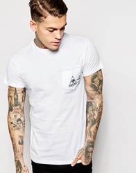 Criminal Damaget Shirt With Reflective Pocket And Turn Up Sleeves White