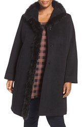Cinzia Rocca Due Plus Size Women's Genuine Fox Fur Trim Wool Coat