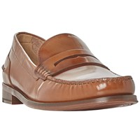 Bertie Randsom Leather Penny Saddle Loafers Tan