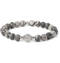 Tateossian Stonehenge Sterling Silver And Spiderweb Jasper Bracelet Gray