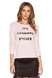 Milly Cashmere Intarsia Sweater Pink