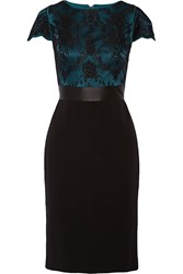 Catherine Deane Lace Covered Ponte Dress Black