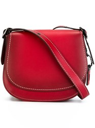 Coach Leather Saddle Bag Red
