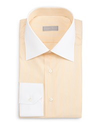 Stefano Ricci Contrast Collar Striped Dress Shirt Yellow