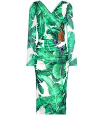 Dolce And Gabbana Printed Embellished Silk Blend Wrap Dress Green