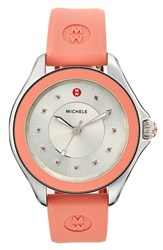 Women's Michele 'Cape' Topaz Dial Silicone Strap Watch 40Mm Pink Silver