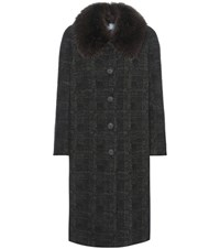 Prada Fur Trimmed Virgin Wool And Mohair Blend Coat Green