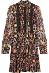 Red Valentino Redvalentino Printed Plisse Silk Chiffon Mini Dress Black