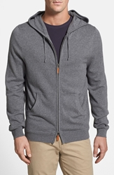 Nordstrom Full Zip Cotton And Cashmere Hoodie Medium Grey Heather