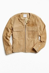Urban Outfitters Uo Collarless Suede Jacket Brown